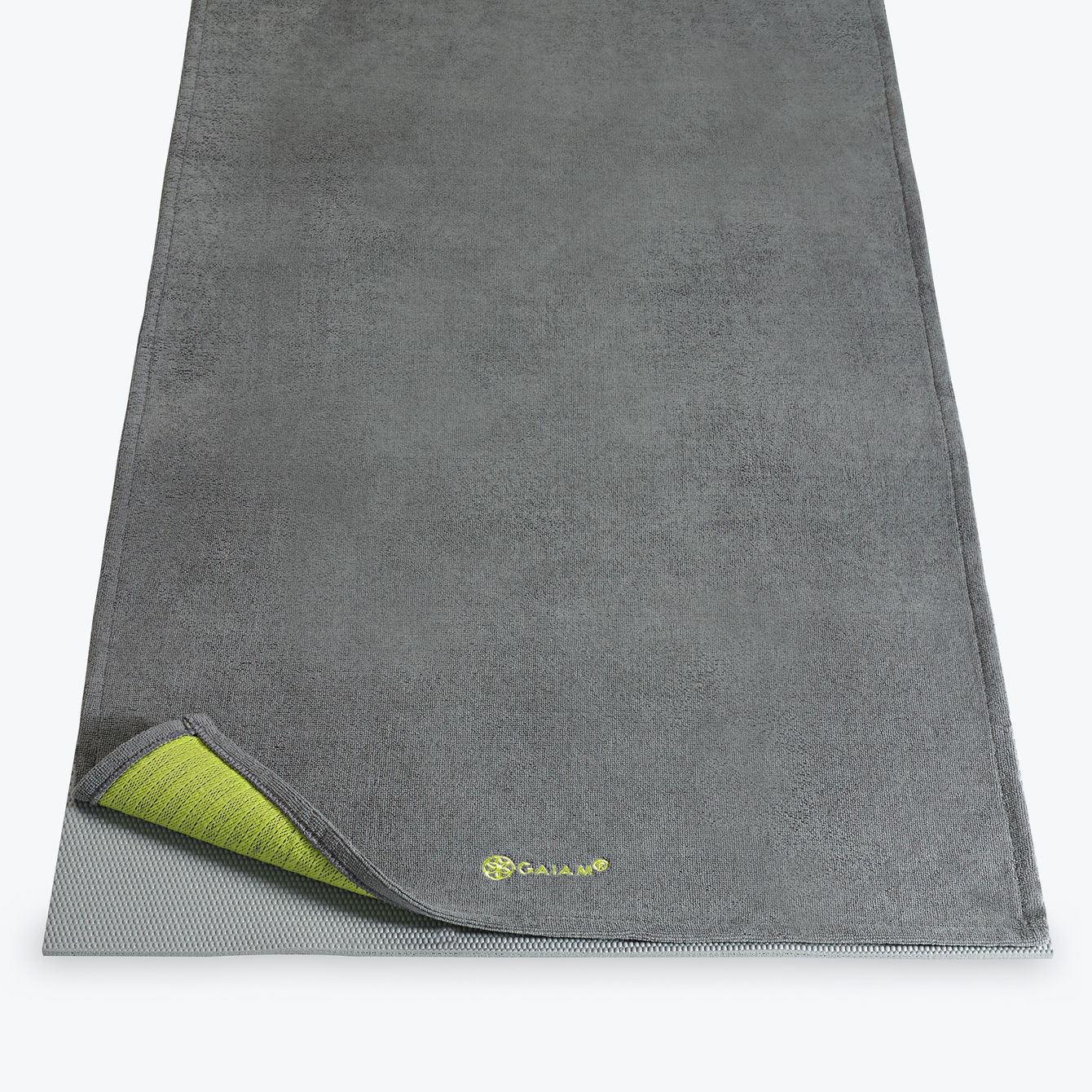 Gaiam Grippy Yoga Mat Towel Gray Citron Yoga Direct