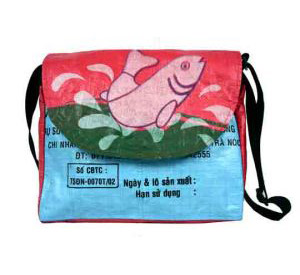 Recycled Rice Bag – Messenger by MaliaDesigns