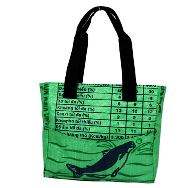 Recycled Rice Bag – Small Tote by MaliaDesigns