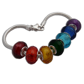 Faceted Chakra Bead Bracelet by Shanti Boutique