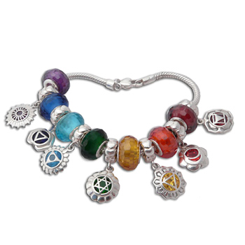 Good Vibes Chakra Charm Bead Bracelet by Shanti Boutique