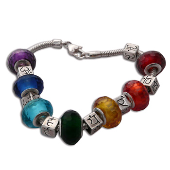 Chakra Cubes Color Bead Bracelet by Shanti Boutique