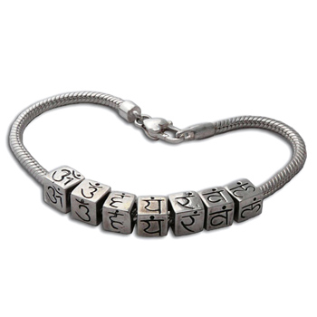 Chakra Mantra Cubes Bead Bracelet by Shanti Boutique