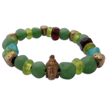 Buddha Mala Bracelet COOL SEA Recycled Glass and Brass by Shanti Boutique