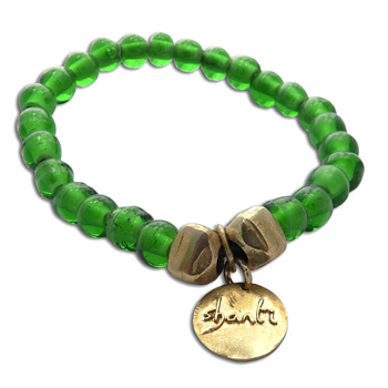 Shanti Mala Bracelet GREEN Recycled Glass and Brass by Shanti Boutique