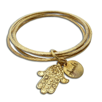 Hamsa Hand of Fatima Bangles Bracelet Recycled Brass by Shanti Boutique