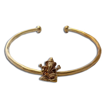 Ganesh Cuff Bangle Bracelet Recycled Brass by Shanti Boutique