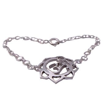 Sterling Silver Om (Aum) Lotus Bracelet with Cubic Zirconia by Shanti Boutique