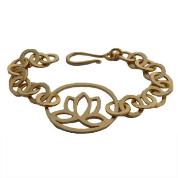 18k Gold or Sterling Silver Matte Lotus Flower Link Bracelet by Shanti Boutique