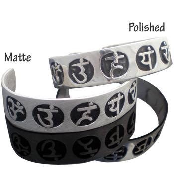 Sterling Silver Chakra Mantra Cuff Bracelet