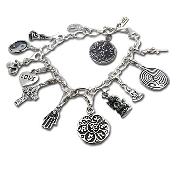 Charm Bracelet with Ganesh, Om, Peace, Buddha, Yin Yang, Love, Celtic Cross, Hamsa, Om Mani Padme by Shanti Boutique