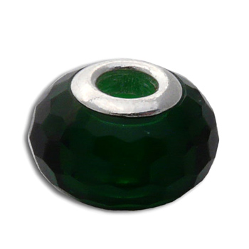 Faceted Heart Chakra Bead Green