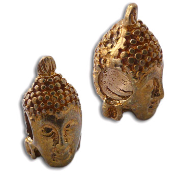 Buddha Head Bead Recycled Brass by Shanti Boutique