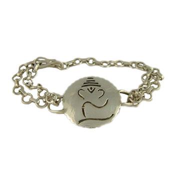 Ganesh, Hindu Deity, Sterling Silver Bracelet by Shanti Boutique