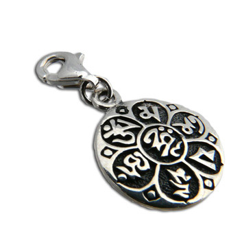 Charmas Sterling Silver Om Mani Padme Hum Charm with Spring Clasp by Shanti Boutique