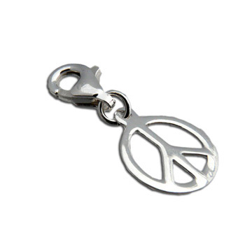 Charmas Sterling Silver Peace Charm Pendant with Spring Clasp by Shanti Boutique