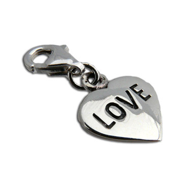 Charmas Sterling Silver Love Heart Charm with Spring Clasp by Shanti Boutique