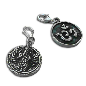 Charmas Sterling Silver Double-sided Om and Ganesh Charm with Spring Clasp by Shanti Boutique