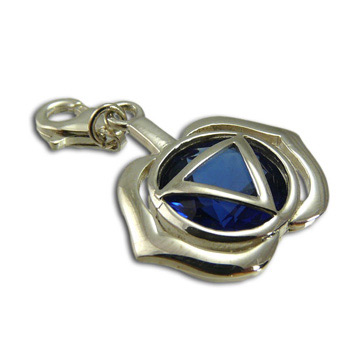 Good Vibes Forehead Chakra Stone Charm with Sapphire Cubic Zirconia by Shanti Boutique