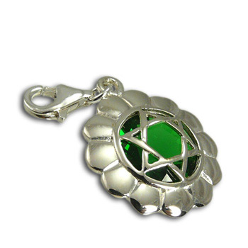 Good Vibes Heart Chakra Stone Charm with Emerald Cubic Zirconia by Shanti Boutique