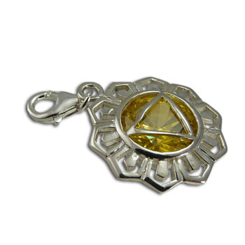 Good Vibes Solar Plexus Chakra Stone Charm with Citrine Cubic Zirconia by Shanti Boutique