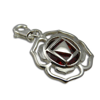 Good Vibes Root Chakra Stone Charm with Garnet Cubic Zirconia by Shanti Boutique