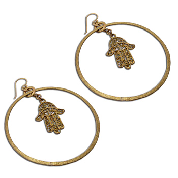 Hamsa Hand of Fatima Earrings Recycled Brass by Shanti Boutique