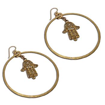 Hamsa Hand of Fatima Earrings Recycled Brass
