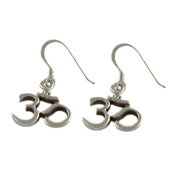 Sterling Silver OM (Aum) Classic Earrings by Shanti Boutique