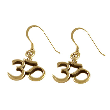 18k Gold Vermeil OM (Aum) Classic Earrings by Shanti Boutique