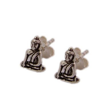 Sterling Silver Buddha Stud Earrings by Shanti Boutique