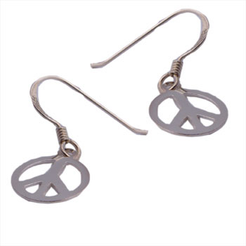 Sterling Silver Small Peace Dangle Earrings by Shanti Boutique