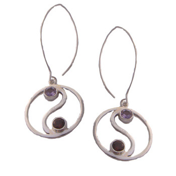 Sterling Silver Yin Yang Earrings with Amethyst and Garnet Chakra Stones by Shanti Boutique