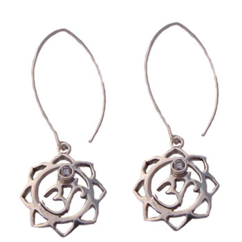 Om (Aum) Lotus Flower Drop Earrings with Cubic Zirconia by Shanti Boutique
