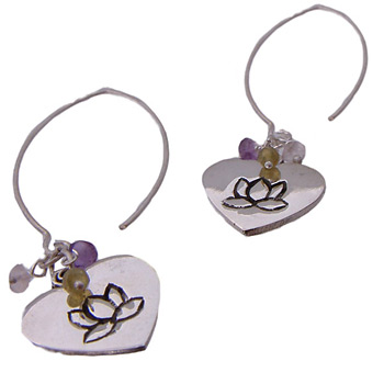 Lotus Love Dangle Earrings with Semi Precious Stones – Amethyst, Peridot, Rose Quartz by Shanti Boutique
