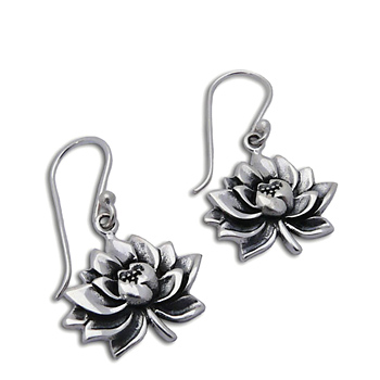Water Lily Earrings Sterling Silver by Shanti Boutique
