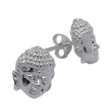 Buddha Face Stud Earrings – Sterling Silver by Shanti Boutique