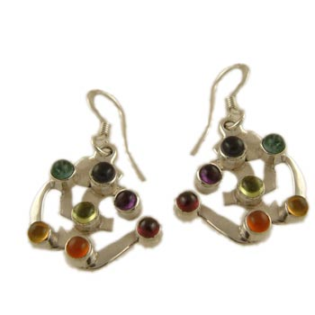 Sterling Silver Om (Aum) Earrings with Chakra Gemstones