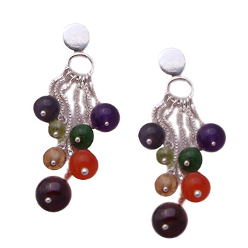 Chakra Stone Dangling Earrings – Amethyst, Garnet, Peridot, Citrine, Carnelian, Iolite, Apatite by Shanti Boutique