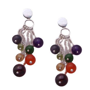 Chakra Stone Dangling Earrings – Amethyst, Garnet, Peridot, Citrine, Carnelian, Iolite, Apatite by Shanti Boutique