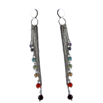 Well-Being Sterling Silver Chakra Earrings with Gemstones – Amethyst, Garnet, Peridot, Citrine, by Shanti Boutique