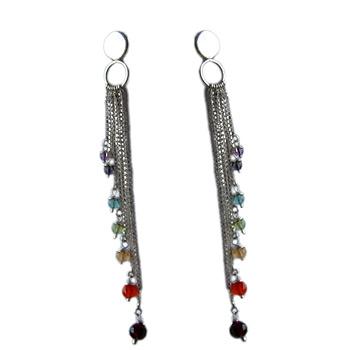 Well-Being Sterling Silver Chakra Earrings with Gemstones - Amethyst, Garnet, Peridot, Citrine,