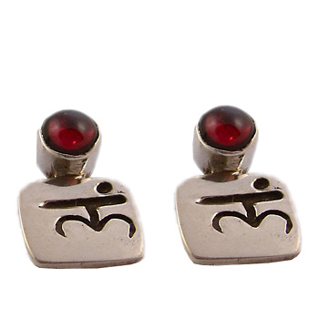 Sterling Silver Chakra Gem Earrings with Mantra by Shanti Boutique
