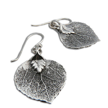 Bodhi Leaf Buddhist Earrings – Sterling Silver by Shanti Boutique