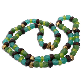 Buddha Mala Necklace COOL SEA Recycled Glass and Brass by Shanti Boutique