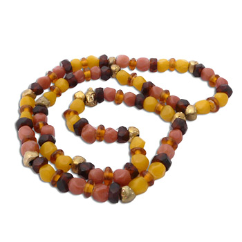 Buddha Mala Necklace WARM EARTH Recycled Glass and Brass by Shanti Boutique