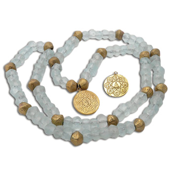 OM Mani Padme Hum Mala Necklace Recycled Glass and Brass by Shanti Boutique