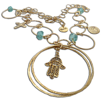 Gypsy Necklace Hamsa Recycled Brass by Shanti Boutique