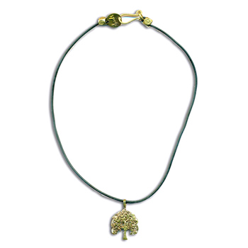 Bodhi Tree Rubber Necklace Recycled Brass by Shanti Boutique
