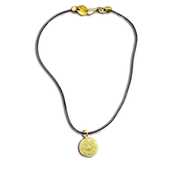 Om Mani Padme Hum Buddha Rubber Necklace Recycled Brass by Shanti Boutique